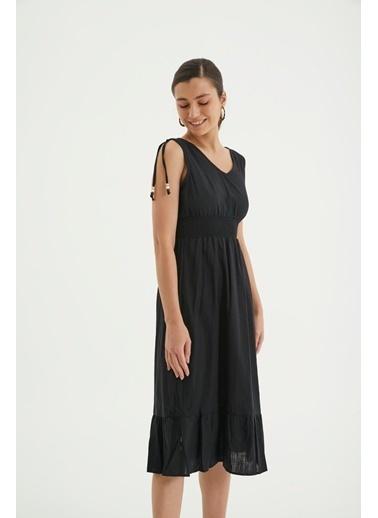 Reyon Askılı Bel Büzgülü Keten Günlük Elbise Beyaz Siyah